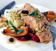 Zesty Roast Salmon and Cod. (Orange, raisins, peppers.) Roasting is a foolproof way of cooking fish. This salmon dish stays sweet and moist – a great main for a dinner party.