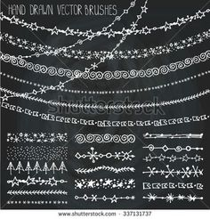 Christmas Hand drawn borders,garland brushes.New year doodle pattern textures,snowflakes, stars ornament.Decoration vector brushstroke set.Winter symbols.Used brushes included.Chalkboard background