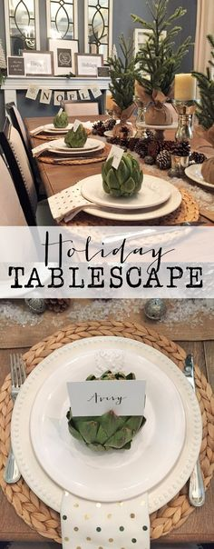 Beautiful holiday tablescape.  Tons of inspiration to get your table ready for Christmas and holiday entertaining.