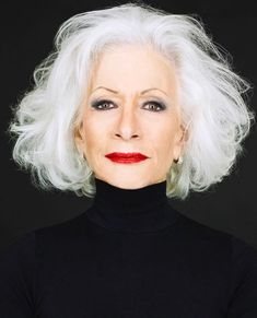 strong makeup with white hair