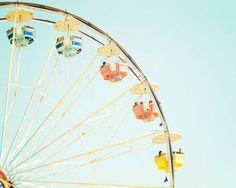 Nursery Ferris Wheel Art, Pastel, Light Blue Sky , Carnival Photograph, Bright Colorful, Pastel Nursery Decor, A Day At The Fair,