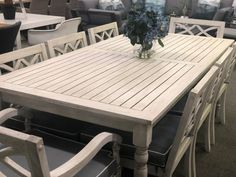 Hampton Hardwood Timber Hamptons Style 9 Piece Outdoor Dining Setting Whitewash with Grey Cushions - Outdoors