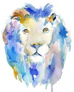 In Like a Lion by Jessica Buhman 8 x 10 print of original on bright white card stock paper. Will be shipped quickly and securely. Please message with any special instructions or questions. Watercolor Paintings Of Animals, Watercolor Lion, Lion Painting, Nursery Paintings, Watercolor Artists, Animal Paintings, Animal Drawings, Painting Prints, Drawing Animals