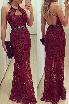 Backless Hollow Out Lace Sleeveless Maxi Dress WINE RED: Maxi Dresses | ZAFUL