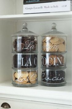 stacked glass storage jars from Riviera Maison Kitchen Pantry, Kitchen Items, Kitchen Gadgets, Kitchen Storage, Kitchen Decor, Glass Storage Jars, Jar Storage, Glass Jars, Glass Cookie Jars