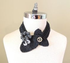Modern Elegance Accent Scarf Grey Silver unique by Valerie Baber Designs - IntricateKnits, $35.00