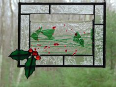 Holly berries stained glass suncatcher #etsygift #holly #Christmas #stainedglass #suncatcher by DesignsStainedGlass