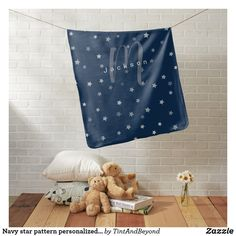 Navy star pattern personalized name and monogram baby blanket Star Patterns, Baby Patterns, Cool Patterns, Cute Baby Cow, Baby Monthly Milestones, Soft Baby Blankets, Baby Monogram, Personalized Baby Blankets, Nursery Room Decor