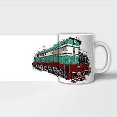 Hrnky s lokomotivami. Mugs, Tableware, Dinnerware, Tumblers, Tablewares, Mug, Dishes, Place Settings, Cups