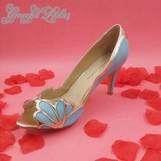 11e7deb3683 Modré kluzné dámské pumpy Shell Gold Podrobné svatební boty 3 palce vysoké  podpatky Peep Toe svatební čerpadla boty Handmade Plus Velikost boty