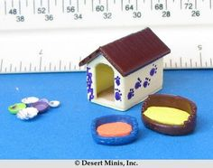 Desert Minis:  New Dog Accessory kit.  3D printed to assembly is easy.  Includes dog house, two dog beds and several dishes.