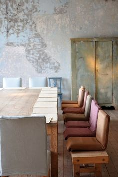 Love the large table for receiving friends and the colour palette / Axel Vervoordt Interiors