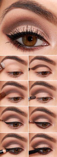 apprendre a se maquiller, astuces pour appliquer eye liner noir, fards à paupières de palette nude