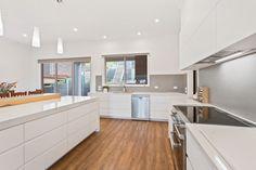 Creative Cabinets custom kitchen design, incorporating fingerpull cabinets with Quantum Qartz benchtops. Custom Cabinets, Cabinet Design, Melbourne, Kitchen Design, Custom Design, New Homes, Interiors, Interior Design, Luxury