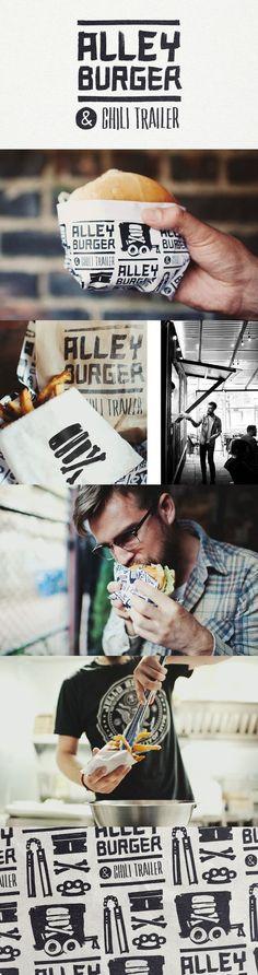 Identity Branding l Alley Burger & Chili Trailer Food Branding, Food Packaging Design, Restaurant Branding, Logo Food, Packaging Design Inspiration, Graphic Design Inspiration, Burger Branding, Branding Ideas, Product Branding