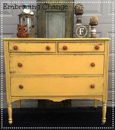Chippy Antique Dresser in Mustard Seed Yellow Milk Paint