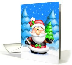 Happy Holidays, Whimsical Santa with Christmas Tree Greeting Card by Bill Fleming