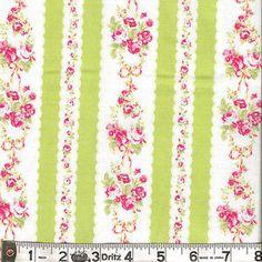 Lecien FLOWER SUGAR 3 Floral Stripe Green Fabric by the 1/2 yard