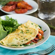 roasted tomato, feta, and spinach omelette