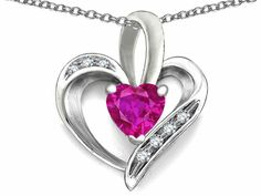 Star K Heart Shape 6mm Simulated Pink Tourmaline Pendant Necklace