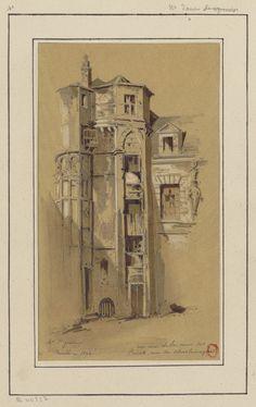 Crayon architectural sketch of urban Paris in 1890s. Title: Un coin de la cour des Prévots, rue Charlemagne Designed by: Jules-Adolphe Chauvet Date: 1890s