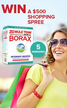 Click through to enter to WIN a summer shopping spree and FREE 20 Mule Team Borax!