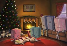 """""""Presents Opening Children"""" is a fantastically creepy holiday illustration by Los Angeles artist Rob Sheridan that he created for his Christmas card this Christmas Morning, Merry Christmas, Christmas Presents, Christmas Humor, Christmas Time, Dark Christmas, Christmas Ideas, Christmas Images, Kids Presents"""