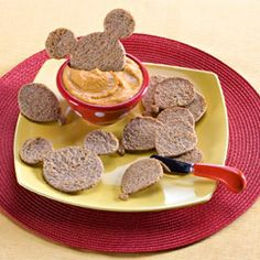 Hummus dip with Mickey Mouse shaped bread