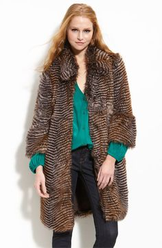 Willow & Clay Chevron Stripe Faux Fur Jacket available at #Nordstrom