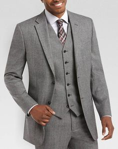 Jones New York Black and White Plaid Modern Fit (Trim)Vested Suit | Men's Wearhouse