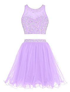 Tideclothes Short Beading Prom Dress Two Pieces Tulle Evening Dress Lavender Dama Dresses, Quince Dresses, Hoco Dresses, Tulle Prom Dress, Cute Dresses, Evening Dresses, Lavender Dresses, Prom Gowns, Quinceanera Dresses