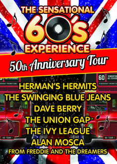 THE SENSATIONAL 60S EXPERIENCE. This is without doubt the ultimate 60's extravaganza touring the UK on its 50th anniversary. For one night only six legendary names from the 1960's take to the stage and deliver to you a night never to be forgotten, crammed with nostalgia & hits. #60s #sensational60s #hermanhermits #swindon #live #music #daveberry