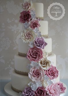 Vintage Rose Cascade / http://www.cottonandcrumbs.co.uk/wedding-cakes/