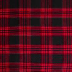 Red/Black Tartan Plaid Cotton Flannel Fabric by the Yard | Mood Fabrics