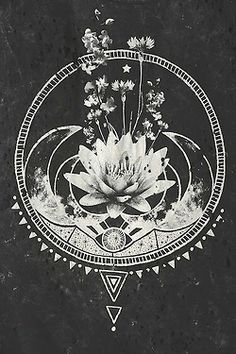 art Black and White hipster moon artwork triangle yoga lotus Lotus Flower third eye Pose om Namaste yogaeverydamnday satnam yoga flow
