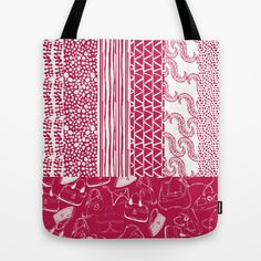 Relaxed Geos Handbags – Red Tote Bag by by Bethania Lima Designs: A whole collection around the theme of accessories, hand-drawn and decorated with relaxed geos imagery.