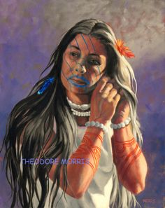 """Timucua Morning. A female Timucua Chief wakes and prepares for another busy day. Women Chiefs wielded the same power as male chiefs. Women were described by the French as """"well favored and modest,"""" basing the judgement as to their modesty and the woman's disclination to permit Frenchmen to come close to them"""". Florida Lost Tribes Art Project by Theodore Morris"""