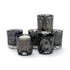 Fine gold and platinum candlesticks from L'Objet, Vera Wang, Mary Jurek and others are a lovely accent for any room. Set Of Six The Mood Votive Holders. Click to Buy #platinumcandles #candles
