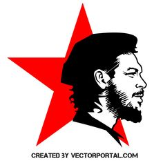 Vector image of Ernesto Che Guevara with red star in the background. Logo D'art, Logo Sign, Art Logo, Che Guevara Tattoo, Che Quevara, Free Vector Images, Vector Free, Che Guevara Images, Mural Cafe