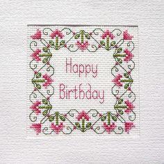 Birthday Card Cross Stitch Kit 14 Count 100% Cotton Adia No. B 030