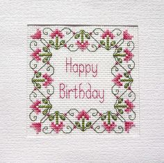 Birthday Card Cross Stitch Kit 14 Count 100% Cotton Adia No. B 030
