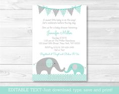 Elephant Baby Shower Invitation / Elephant Baby Shower / Mint Green & Grey / Gender Neutral / INSTANT DOWNLOAD Editable PDF A101