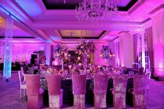 Kordell & Porsha Stewart's gorgeous purple reception at the St. Regis in Atlanta. Wedding by Tiffany Cook Events