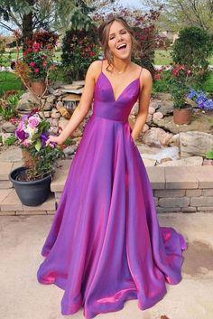 Pretty Prom Dresses, A Line Prom Dresses, Elegant Dresses, Evening Dresses, Dark Purple Prom Dresses, Lavender Prom Dresses, Grad Dresses Long, Simple Prom Dress, Purple Outfits