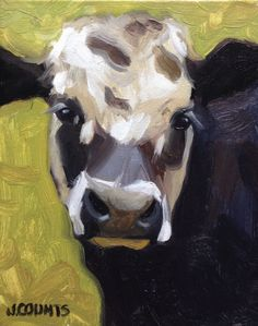 "Cow Bovine Art ""Blanche"" Oil on canvad 8""X10"""