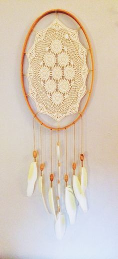 Large oval #dreamcatcher with humanely sourced feathers, vintage lace and quilt hoop