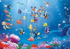 Underwater Cartoon Nemo Sea Full Wall Mural Photo Wallpaper Print Home Deco Kids & Garden Kids Room Murals, Murals For Kids, Wall Murals, Room Wallpaper, Photo Wallpaper, Wallpaper Murals, Home Deco, Underwater Cartoon, Underwater Sea