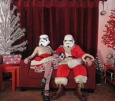 May you have a very merry star wars Christmas: This image is from Flickr.com user RedandJonny.     (Two Married geeks who live happily ever after in Ontario Canada. While on their Honeymoon, they bought a Stormtrooper Helmet at a Toy Show and have been taking it with them while traveling ever since.)