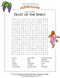 Enjoy our free Bible Word Search: Fruit of the Spirit. Fun for kids to print and learn more about the Bible. Feel free to share with others, too! Sunday School Classroom, Sunday School Activities, Sunday School Lessons, Sunday School Crafts, School Songs, Church Activities, Bible Study For Kids, Bible Lessons For Kids, Kids Bible