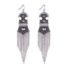 Tibetan Silver boho dangle fringe earrings by OhmyWishfulThinking